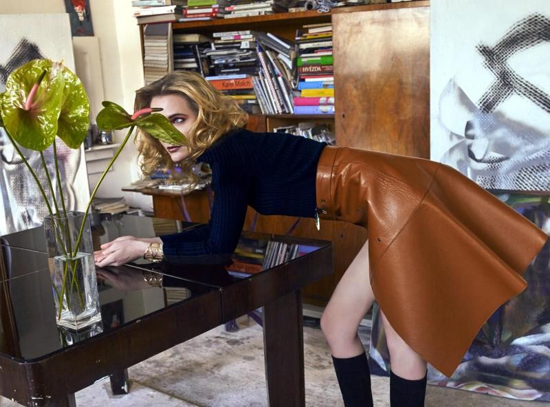 Sweater: Yasuko Nada @ The Item, Prague Skirt: Chloé Boots: Guess Bracelet: stylist's own.