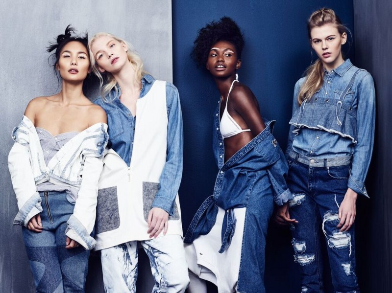 From left to Right-1. Shirt-Nautica Jacket-GUESSDenim -Phlemuns 2. Shirt-Barneys New York Dress-Joyrich Denim-Guess 3. Bikini Top-Topshop Denim Shirt-Joyrich Sweatshirt (Worn As Pant)-G-Star 4. Shirt-G Star Crop top-Phlemuns Denim-Joyrich