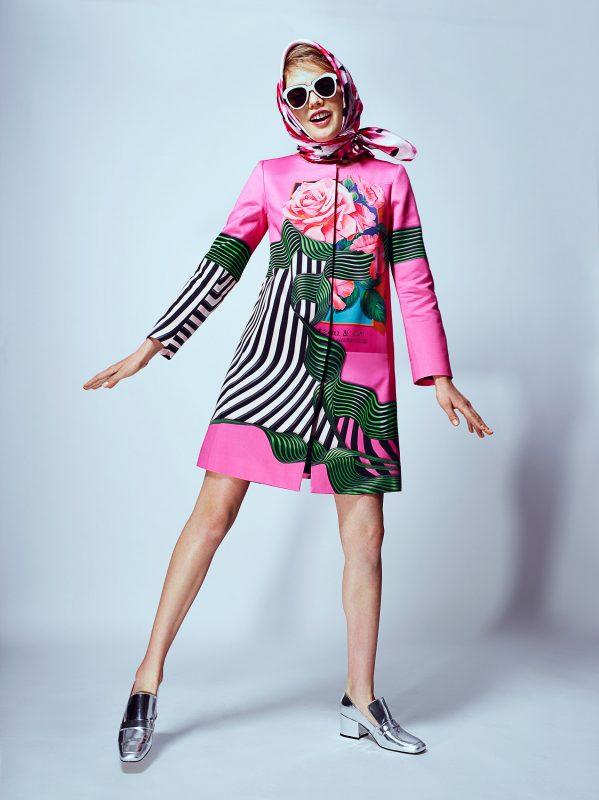 Coat: Mary Katrantzou Head Scarf: Kate Spade Glasses Les Specs Shoes: Dorateymur