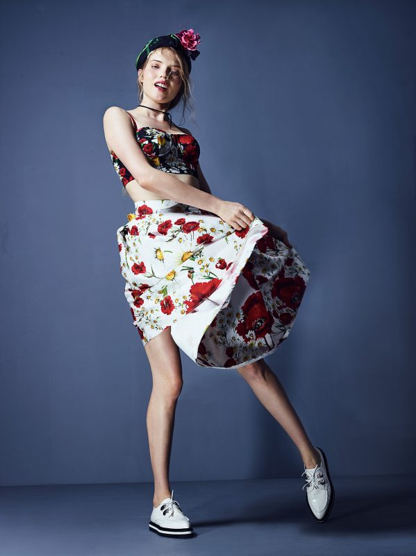 Top and Skirt: Dolce and Gabbana Headscarf: Milly Shoes: Alexander McQueen
