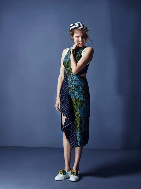 Dress: 3.1 Phillip Lim Beret : Gucci Shoes: Lanvin