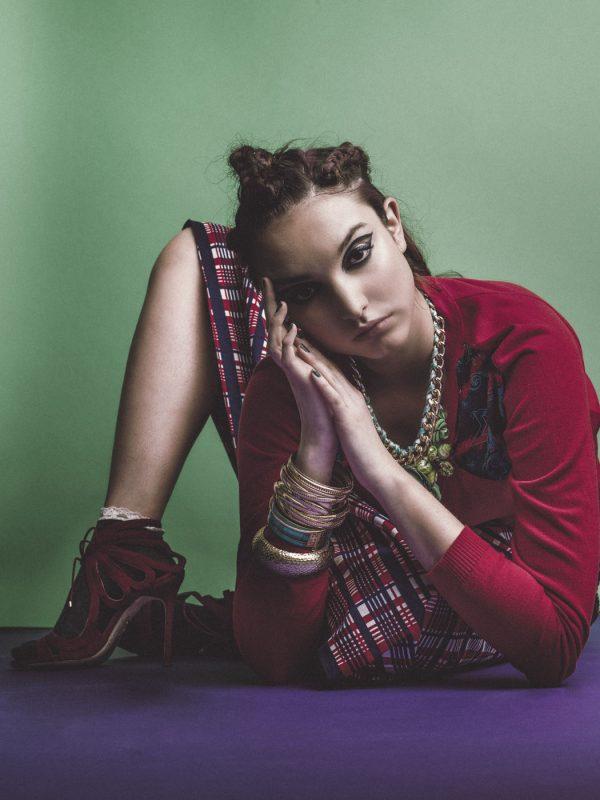 Cardigan: Versace, skirt: beyond retro, roses necklace: Etsy, bangles: Pebble London, frill socks: Topshop, heels: Chelsea Paris