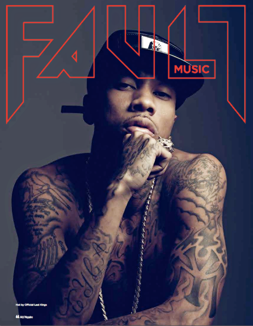 FAULT Issue 19's Music section cover star Tyga was shot by Dove Shore and styled by Leah Adicoff and Leah Henken.