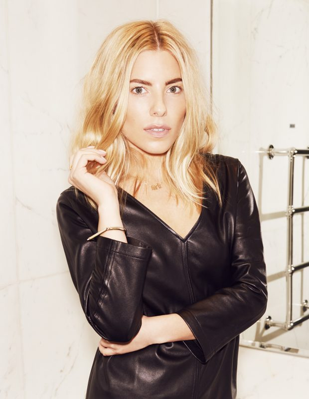 Black Leather Top by Amanda Wakeley Black Skirt by Peter Jensen Gold Bangle by MianSai Gold rings by Alexi