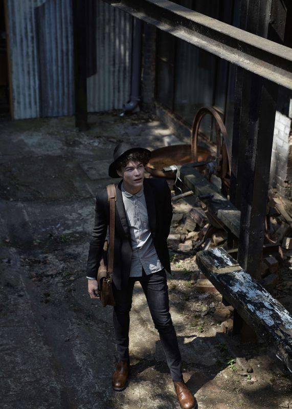 Hat: Stylists Own Shirt: Oliver Spencer Jacket: Blk Denim Jeans: Fara Watch: Komono Shoes: John Varvatos Bag: Forbes & Lewis