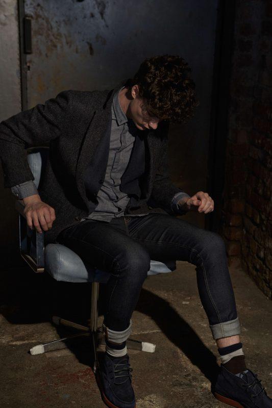 Blue shirt: Oliver Spencer Waistcoat: Brooks Brothers Tweed jacket: Brooks Brothers Jeans: BLK DNM Socks: Stance Shoes: Sebago